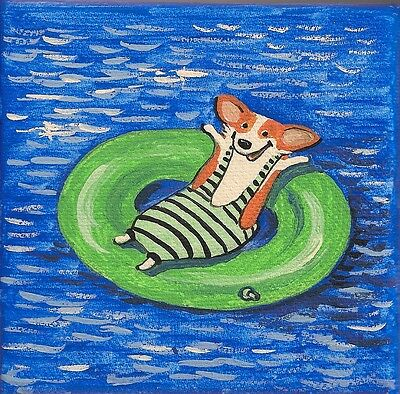 4X4 Print Of  Painting Pembroke Welsh Corgi Folk Art Ryta Beach Whimsical Modern