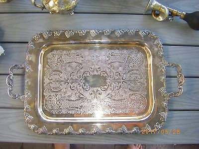 "ANTIQUE SILVER PLATED 20"" TRAY Wm.A ROGERS DECORATED HANDLES GRAPE BUNCH PAISLEY"