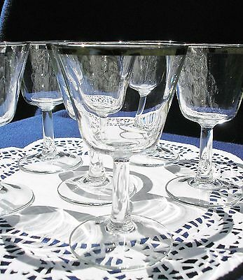 "Six - 4 3/4"" Stemmed Silver Rim Cocktail Glasses Mid-Century - France"