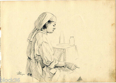 1942 NURSE IN MILITARY HOSPITAL drawing by Russian artist S.Pichugin