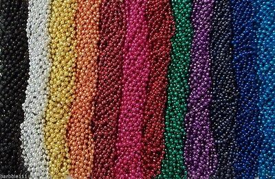 """720 Color Choice Mardi Gras Beads Necklaces Party Favors New 7mm 33"""" Full Size"""