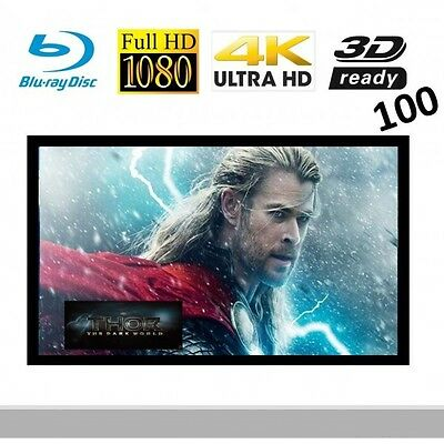 """VisuaLax 100"""" Fixed Frame High Contrast Grey Projector Screen"""