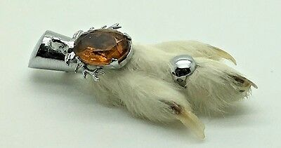 Vtg Grouse Foot Claw Brooch Citrine Stagg Silver Tone Pin Scottish Kilt Celtic