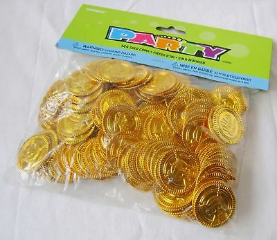 New 144 Gold Coins Pirate Treasure Fun Party Bag Toy Play Money Lge