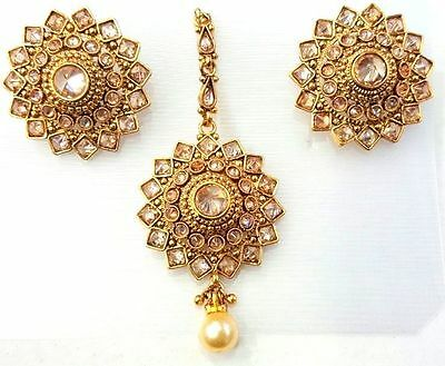 Off White Reverse Ad Pearl Gold Tone Indian Bollywood Earrings Tikka Set Jewelry