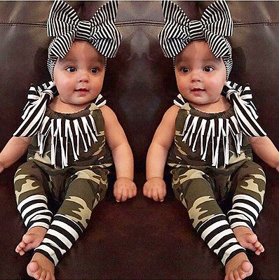 2PCS Baby Girl Clothes Summer Romper Bodysuit Outfits Jumpsuit Headband Clothes