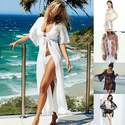 Women Summer Swimwear Chiffon Cover Up Long Dress Beach Cardigan Kaftan Bikini