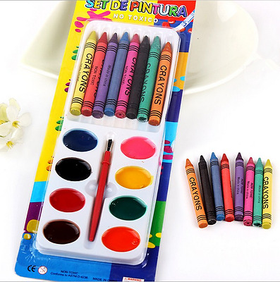 8+8 Kids Children Water Color Marker Crayon Pencil Drawing Painting Art Set