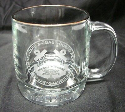 USCG USA Glass Mug United States Military Coast Guard Reserve Etched Cup