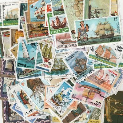 Lot De 100 Timbres Differents - Theme Bateau Voilier