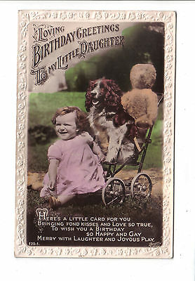 Vintage Birthday Postcard.Child with dog & teddy bear.Posted c1930's