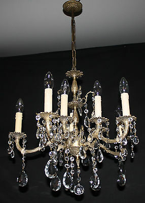 LARGE VINTAGE CHANDELIER FRENCH ANTIQUE STYLE 2 TIER BRASS CEILING LIGHT (ju3)