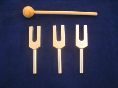 3 Angel Tuning forks 4096, 4160 & 4225 Hz+Wood Mallet to heal / charge crystals