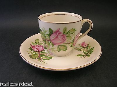 Alfred Meakin Pink Rose Vintage China Demitasse Coffee Cup Saucer England c1940s