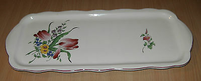 "Plat Rectangle A Cake   Luneville Kg  France Reverbere ""tulipes"""