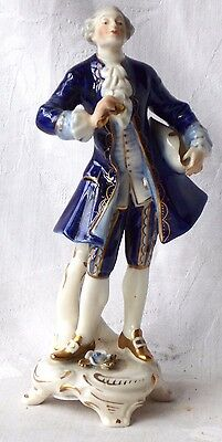 Late C19Th Dresden Figure Of A Gentleman Holding A Flower