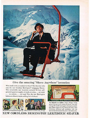 1960 Remington LEKTRONIC Electric Shaver Razor Shaving On Ski Lift VTG Print Ad