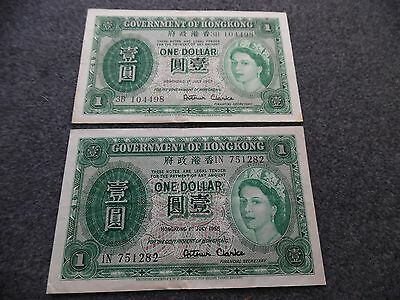 Hong Kong Paper Money (2) $1 Notes 1 July 1955 & 1 July 1957 About Uncirculated