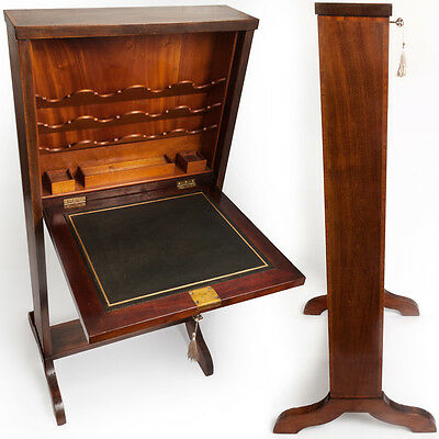 Antique UNUSUAL SLIMLINE BUREAU Fold Up Desk Satinwood Secretaire Edwardian Rare