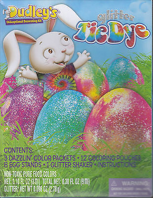 Lot of 2 Dudley's Glitter Tye Dye Easter Egg Decorating Kit Box Bent New [DW Y]