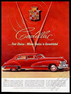 1947 Cadillac sedan red car illustrated vintage print ad