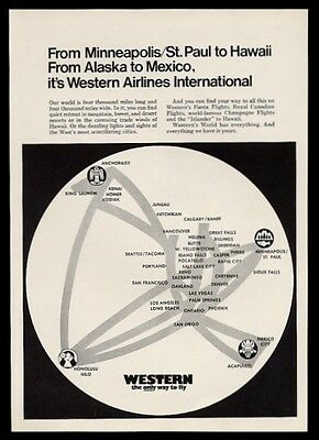 1970 Western Airlines system map vintage print ad