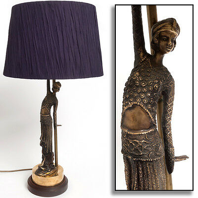 "Art Deco Brass FLAPPER GIRL Table Lamp 28"" Purple Shade Vintage Antique HQ Style"