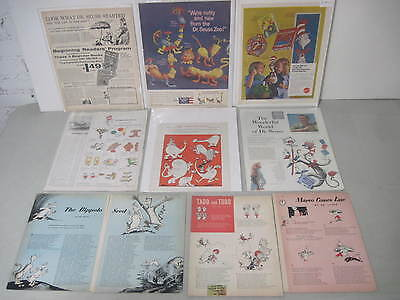 Lot Of 9 Dr. Seuss Magazine Tear Sheets Illustrations Stories & Book & Toy Ads
