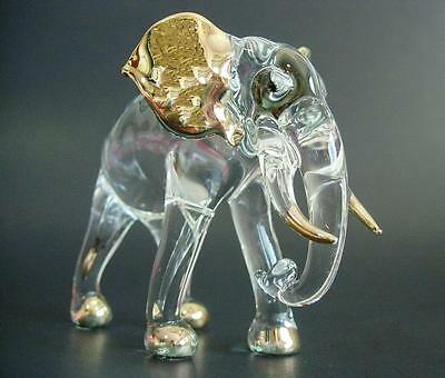 LARGE Glass ELEPHANT African Animal Painted Glass Ornament Blown Glass Figure