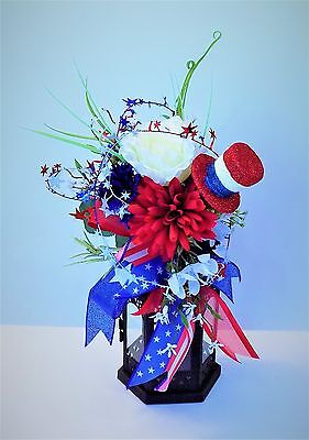 Red White Blue Small Lantern Swag Patriotic 4Th Of July American Flag Ribbon Hat