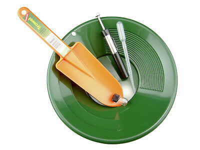 "10"" Green Gold Pan Panning Kit - Orange Scoop, Snuffer, Vial & Black Sand Magnet"