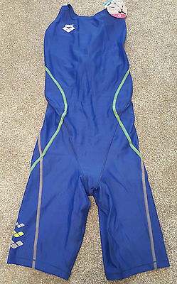 Blue Green Japanese Arena Kneeskin Full Body Swimsuit Spandex Lycra UK S 10 34""