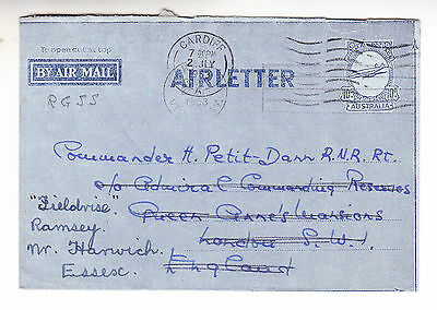 COVER: AUSTRALIA AIRLETTER 1953 (to UK) - also franked 'CARDIFF'