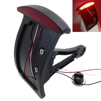 Black Curve License Plate With LED Tail Brake Light for Side Mounted Verticle