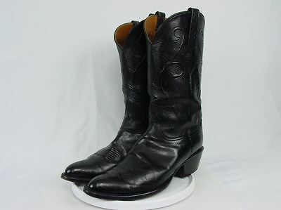 USA LUCCHESE CLASSIC Men 10-D HANDMADE Black Leather Western Horse Cowboy Boots