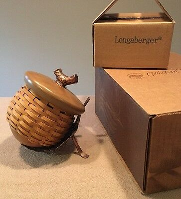 Longaberger Collectors Club 1995 Acorn Basket with Leaf Stand Original Boxes