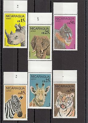 Timbre Stamp  6 Nicaragua Y&t#1152-57 Elephant Tigre Girafe Neuf**/mnh-Mint ~A03