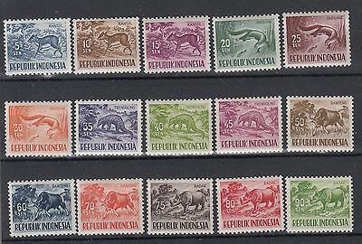 Indonesia:1957 Definitive:Animals set of 15 stamps SG713/727.MUH/MNH.Going cheap