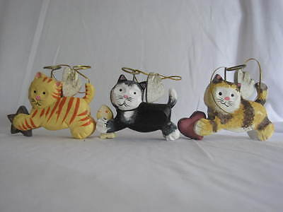 3 Wooden Kitty Cat Angel Ornaments In Box