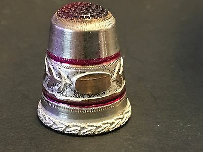 Settmacher Thimble Sewing Unused Red Top Silver Fancy #10-Hubbard Collection