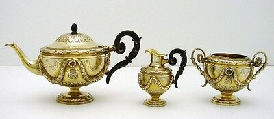 3 pc Gold Wshed Austrian Sterling Silver Tea Set Neo-Classic w Armorial Crest