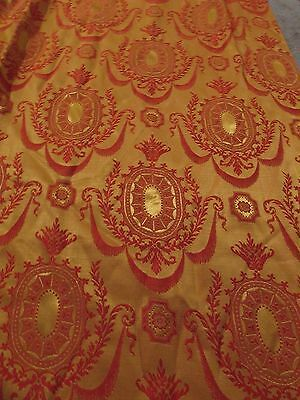 2 Panels Antique Brocade Damask Drape Curtain Window Gold Red Arts & Crafts