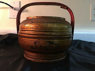Antique Ornate Chinese Wood Wedding Basket Lunch Box with Painted Figures