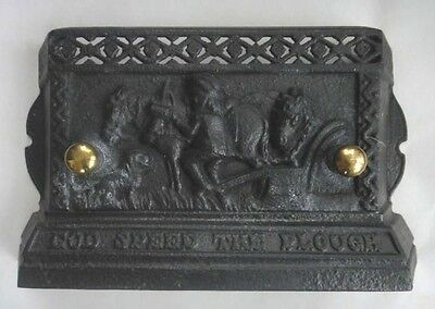 antique CAST IRON STOVE DOOR COVER, FARM SCENE~GOD SPEED THE PLOUGH WORDS