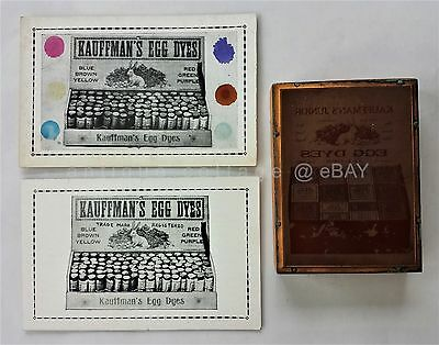 LOT antique KAUFFMAN'S EGG DYES printing block &ad card orig color GAP PA easter