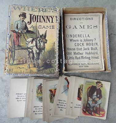 1860 antique McLOUGHLIN BROS CARD GAME playing WHERE IS JOHNNY complete BOX INST
