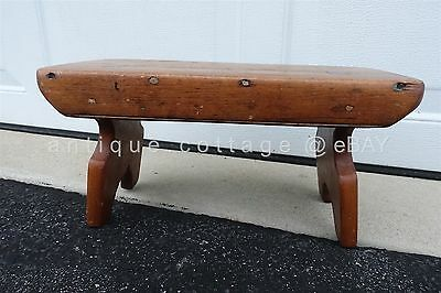 "1800 antique WOOD 15"" MORTISE BENCH foot MILKING stool child lancaster pa"