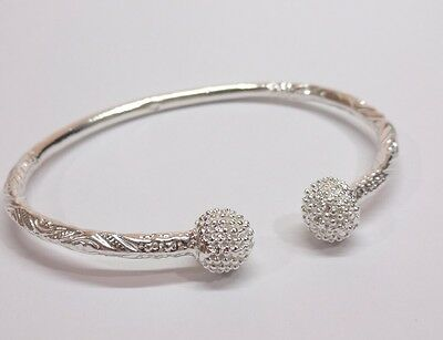 Ball Jamaica TRINIDAD West Indian Sterling Silver Cuff Bangle Bracelet  New 7""