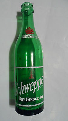 VINTAGE SCHWEPPES  POP SODA GLASS BOTTLE , DRY GINGER ALE , FAIRLY RARE  10oz