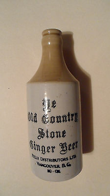 Vintage Old Country Stone Ginger Beer Bottle , Felix.ltd Vancouver B.c